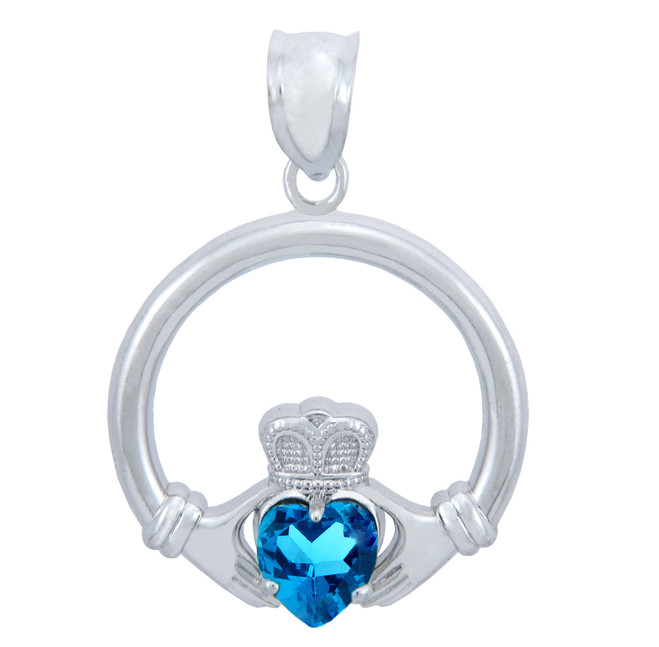 Silver Claddagh Blue CZ Heart Charm Pendant (S)