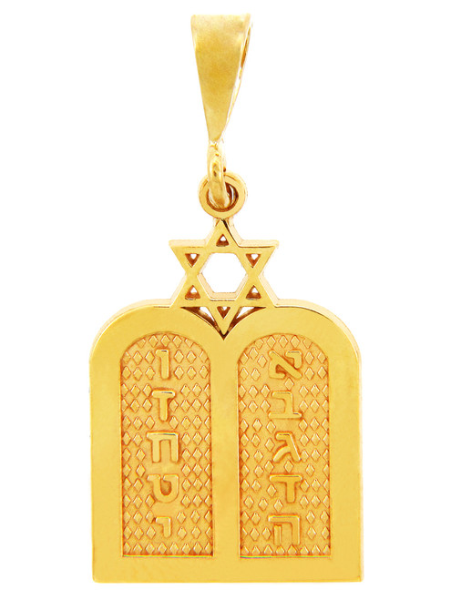 Jewish Charms and Pendants -  Yellow Gold Ten Declarations Tablets Jewish Pendant