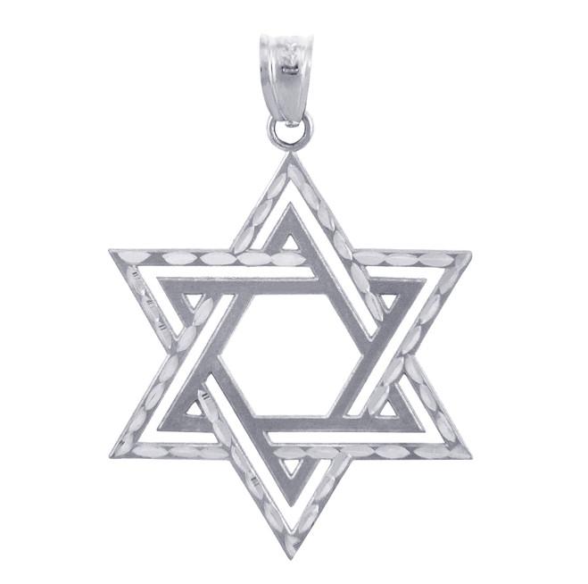 Jewish Charms and Pendants - Star Satin Silver Cross of David