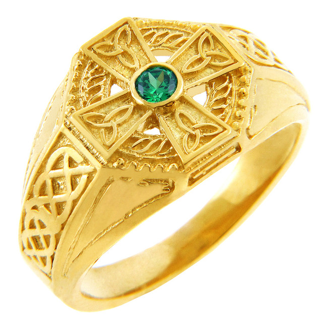 Yellow Gold Celtic Cross Mens CZ Ring with Emerald