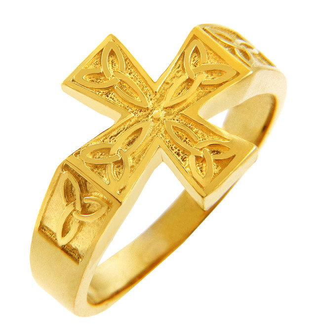Yellow Gold Mens Celtic Trinity Cross Ring