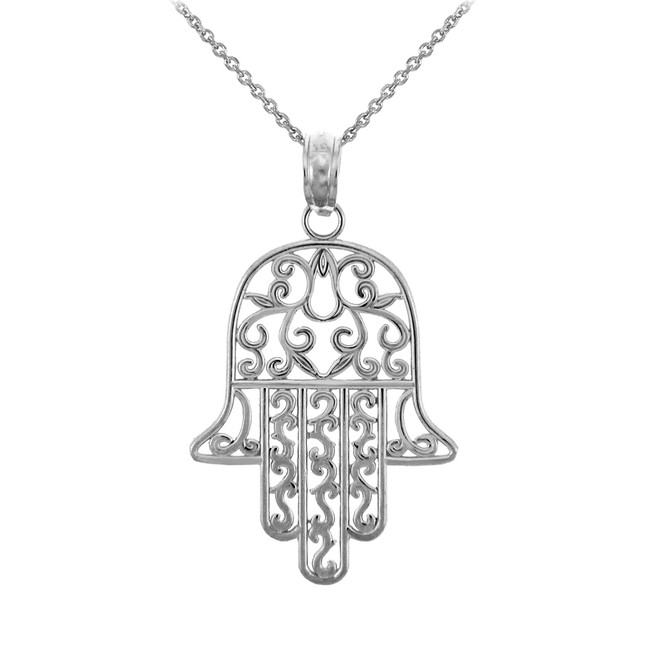 Jewish Charms and Pendants Necklaces- Sterling Silver Hamesh Hand Charm