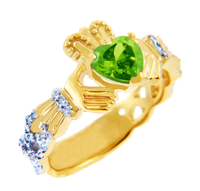 Gold Diamond Claddagh Ring 0.40 Carats with Peridot Stone