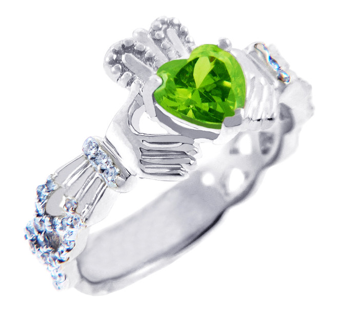 White Gold Diamond Claddagh Ring 0.40 Carats with Peridot Stone