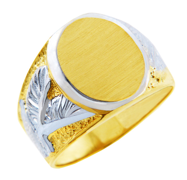 Men's Signet Gold Rings - The White Eagle Two Tone Gold Ring