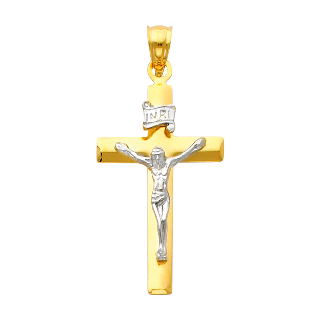 14K Two Tone Gold Revered Crucifix