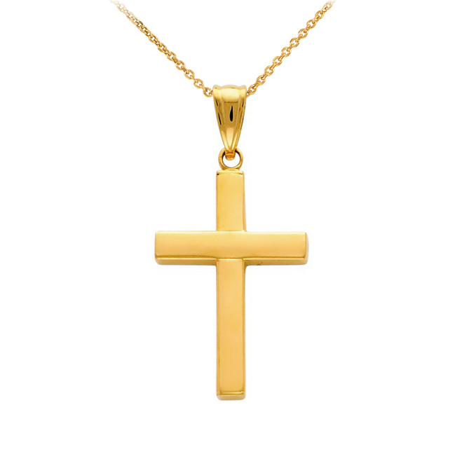 14K Gold Cross Pendant Necklace