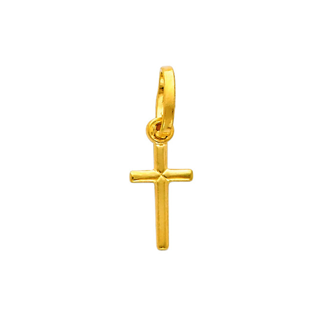 14K Gold Adoring Cross Charm Pendant