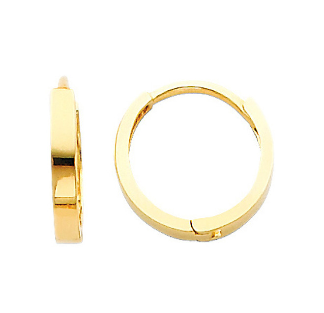 Yellow Gold Circle Huggies Earrings