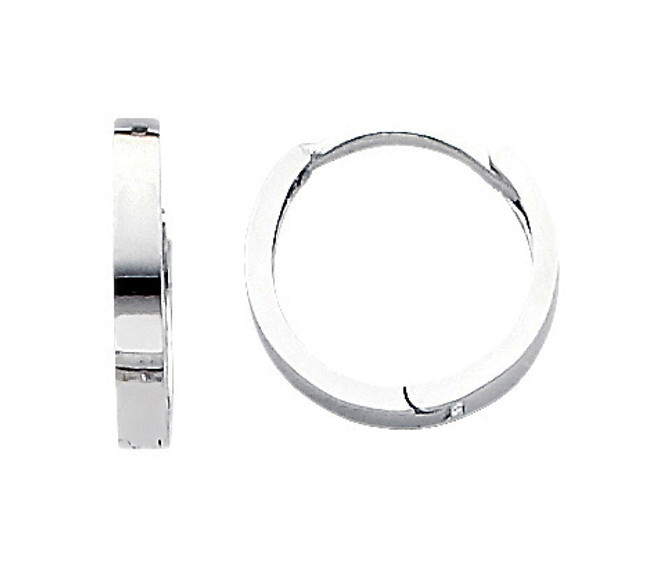 White Gold Circle Huggies Earrings
