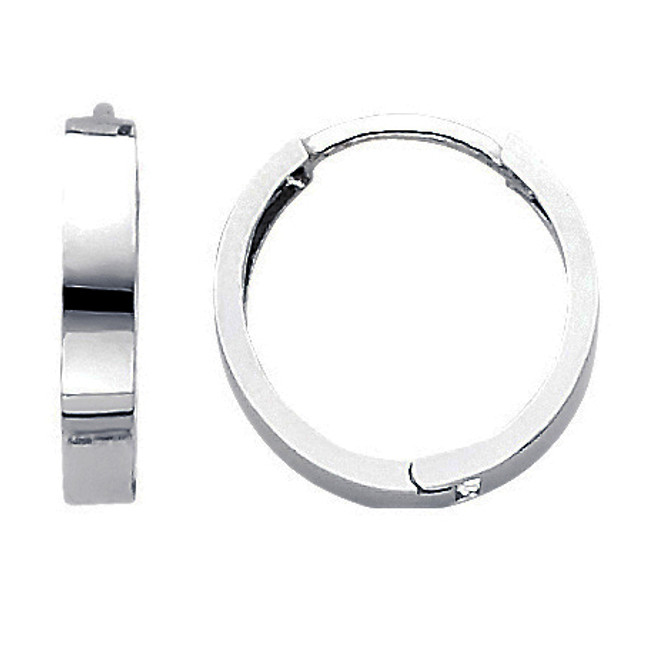 Polished White Gold Round Huggies Earrings
