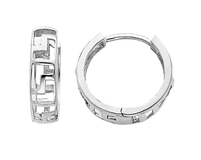 Greek Key White Gold Huggie Earrings