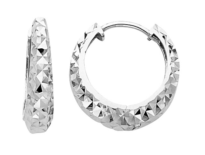 Diamond Cut Bold White Gold Huggie Earrings