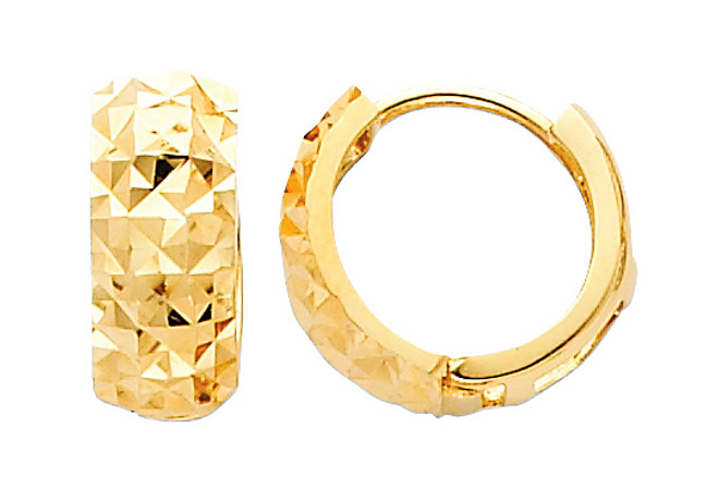 Yellow Gold Diamond Cut Huggie Earrings
