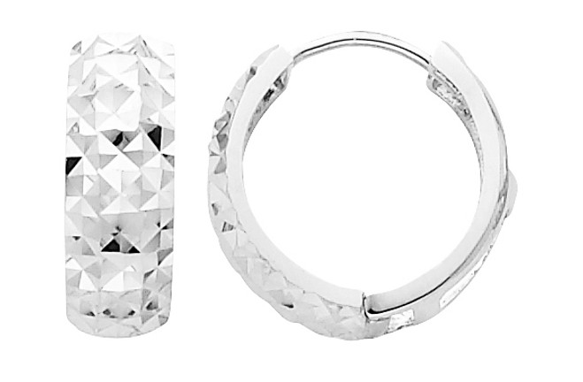 Bold Diamond Cut White Gold Huggie Earrings