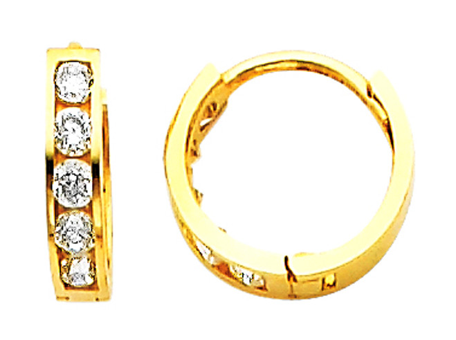Small CZ Circle Yellow Gold Huggie Earrings