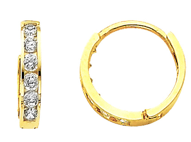 Small CZ Yellow Gold Huggie Earrings