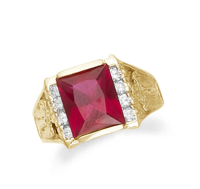 Gold Mens Synthetic Ruby Ring with CZ