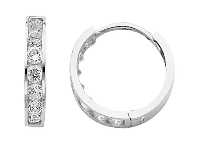 White Gold Traditional CZ Huggie Earrings