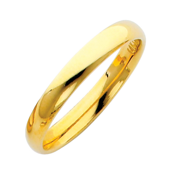 Gold Classic Comfort Fit Wedding Band 3MM
