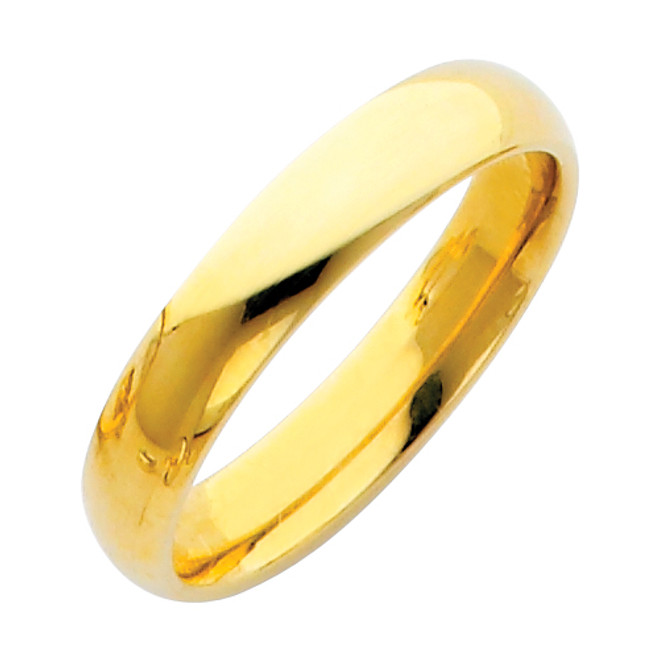 Gold Classic Comfort Fit Wedding Band 4MM