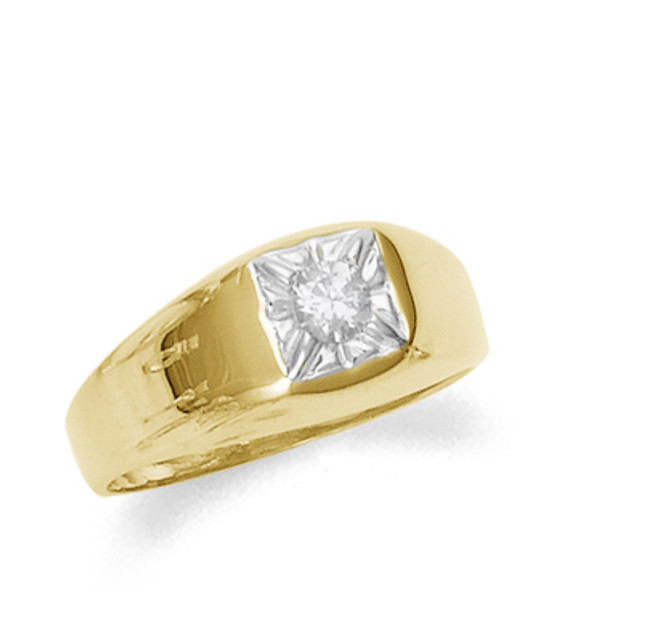 Men's gold pinky ring with cubic zirconia.