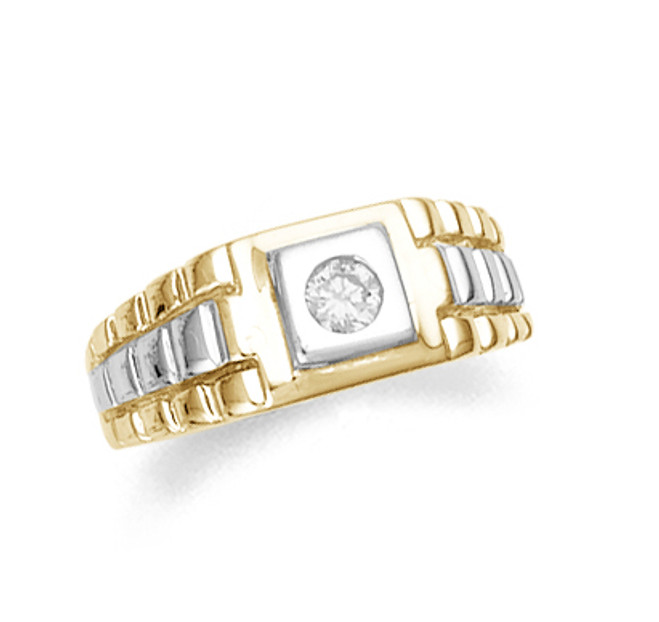 Cubic Zirconia Mens Ring in Two-Tone Gold
