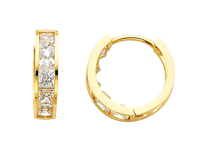 Classic CZ  Huggie Yellow Gold Huggie Earrings