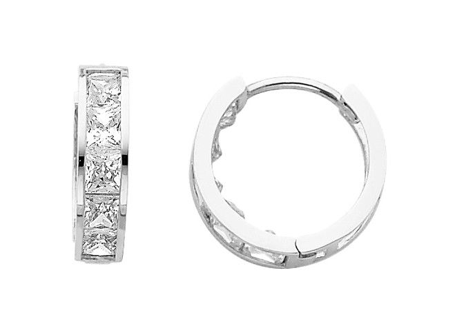 Classic CZ  Huggie White Gold Huggie Earrings