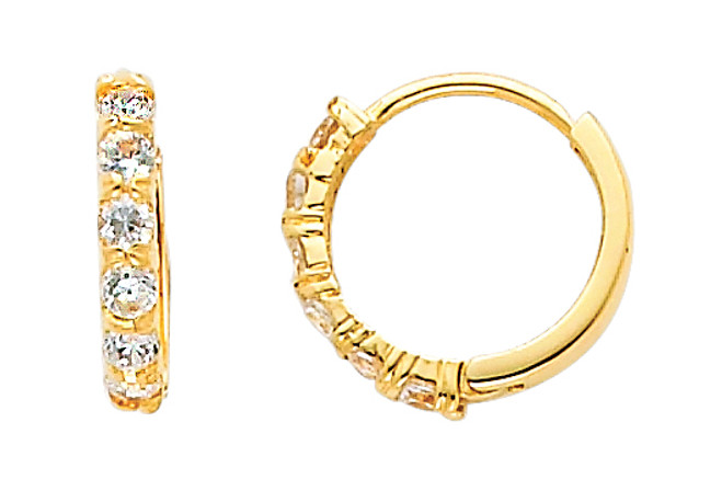 Small Classic CZ Yellow Gold Huggie Earrings