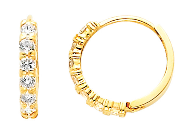 Small Traditional CZ Yellow Gold Huggie Earrings