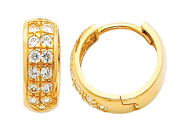 Large Yellow Gold Stunning CZ Huggie Earrings