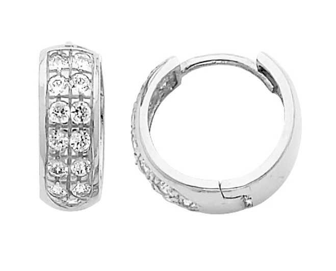 Large White Gold Stunning CZ Huggie Earrings