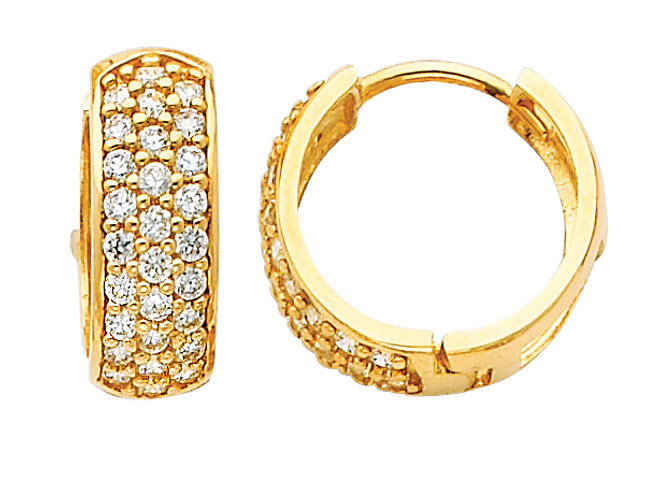 Large Yellow Gold CZ Huggie Earrings