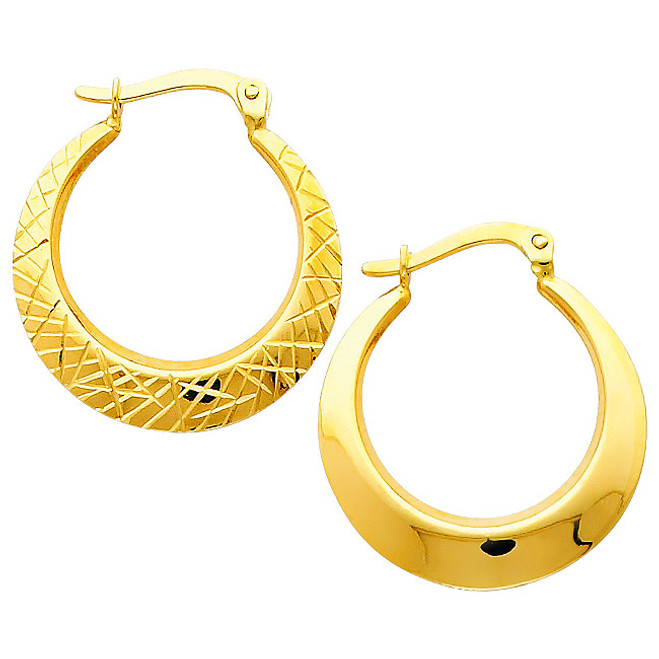 Reversible Yellow Gold Diamond Cut Hoop Earring