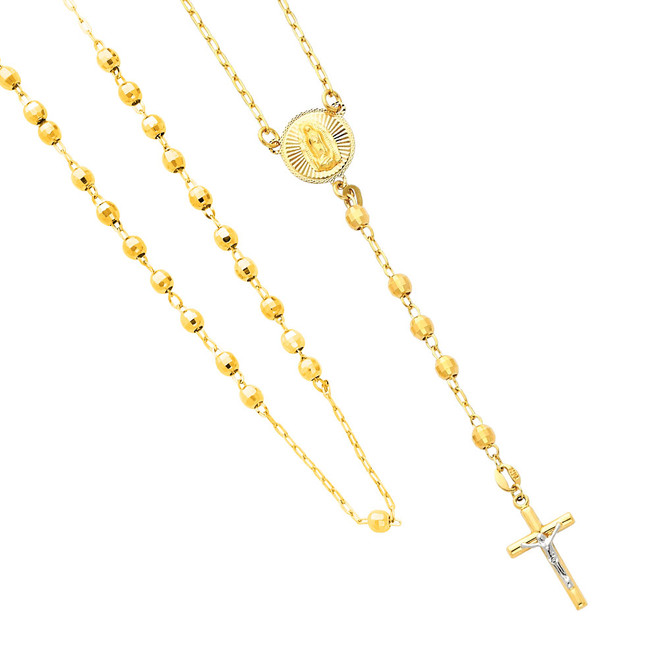 14K Two-Tone Gold Rosary Necklace - The Blessed Mother