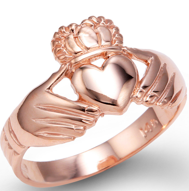 Rose Gold Irish Claddagh Ring Ladies