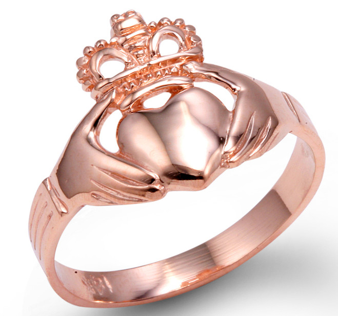 Rose Gold Claddagh Ring Ladies Traditional