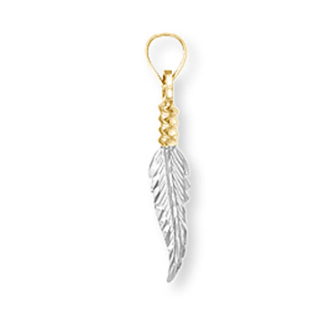 Two-Tone Gold Feather Pendant