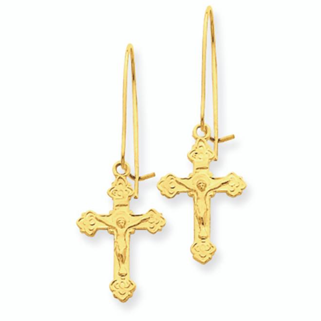 Polished Crucifix Earrings