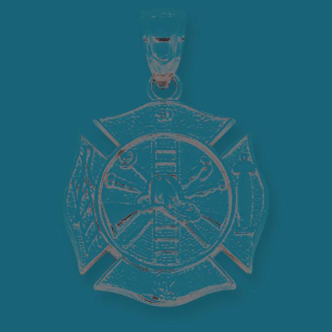 14K White Gold Fireman Badge Pendant