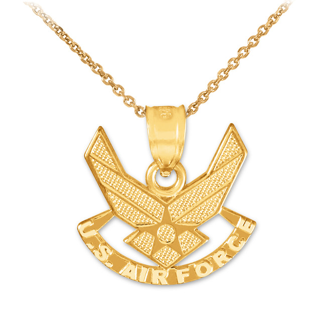 Gold US Air Force Wings Pendant Necklace