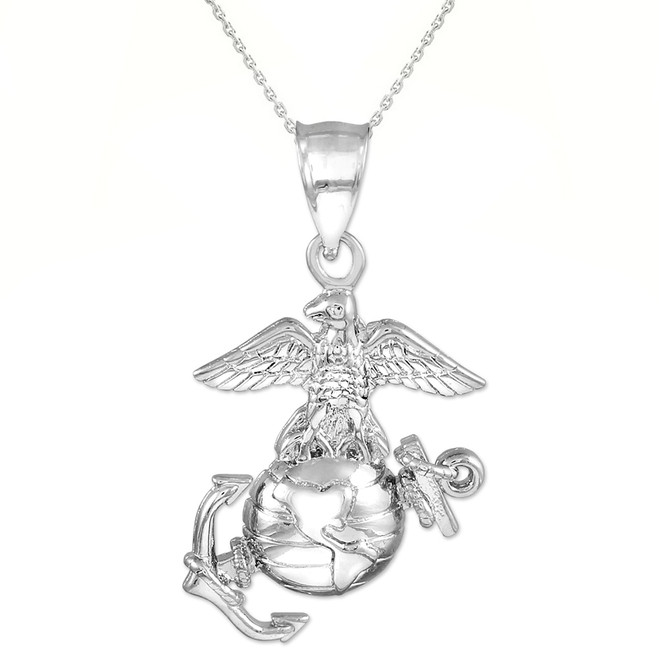 Silver US Marine Corp Large Pendant