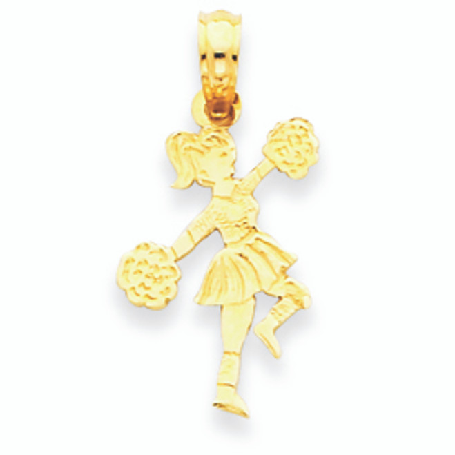 14K Gold Small Cheerleader Marching with Pom-Pom Pen pendant