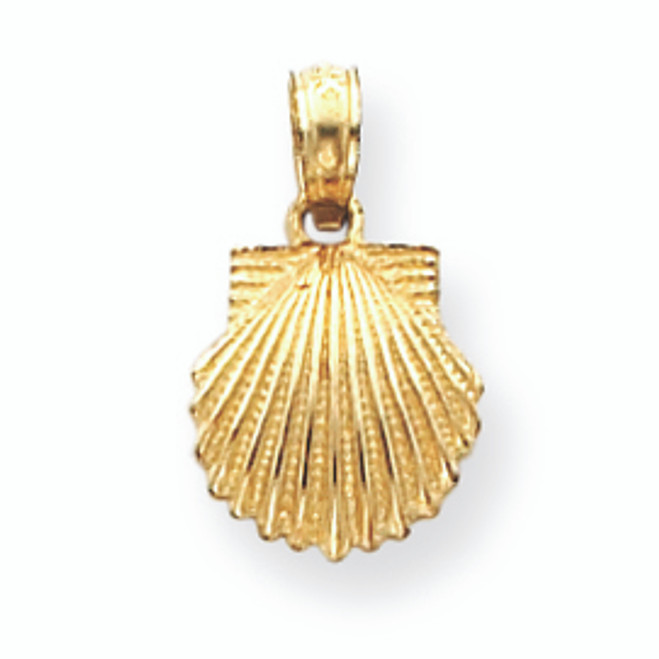 14K Gold Scallop Shell Pendant