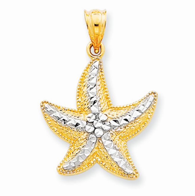 14K Gold Rhodium Starfish Pendant