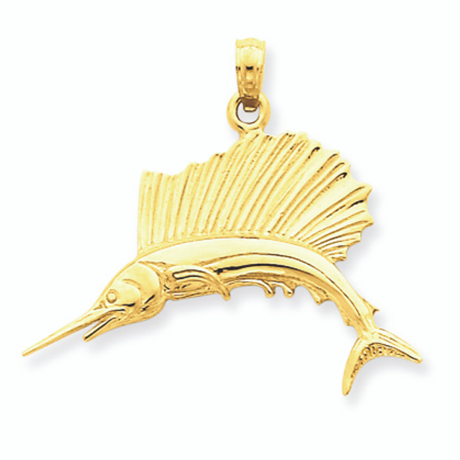 Gold Polished Sailfish Pendant