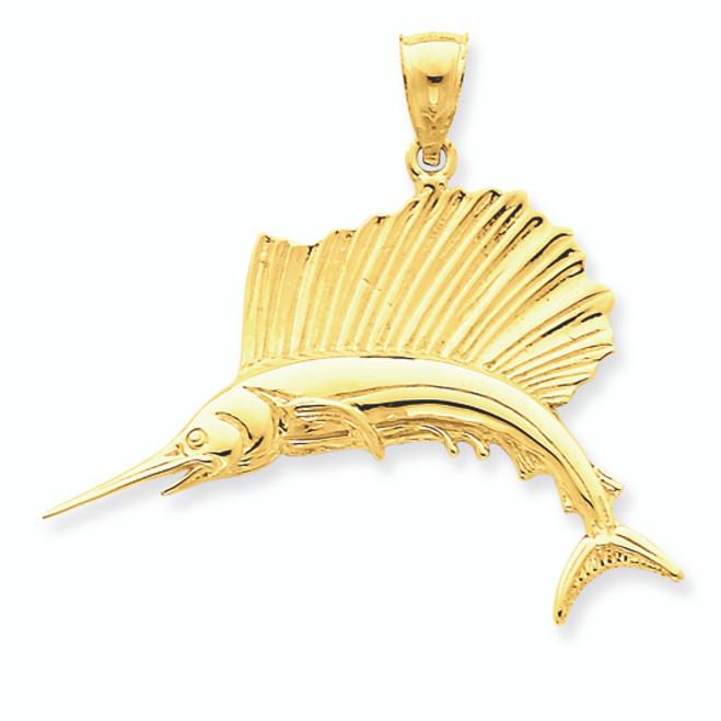 14K Gold Large Sailfish Pendant