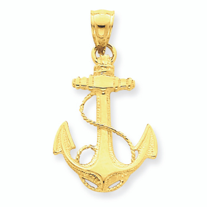 14K Gold Anchor Charm