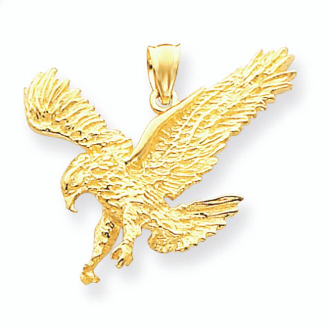 14K Gold Textured Eagle Landing Pendant